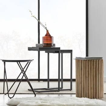 Set of 2 Veneer and Metal Side Tables