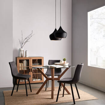 Textured Faux Leather and Metal Dining Chair