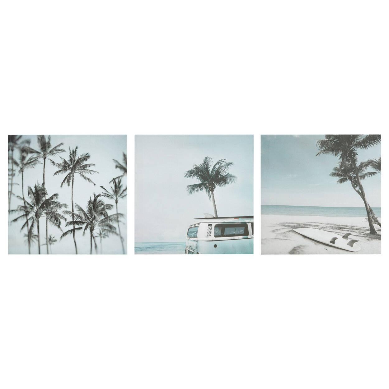 Ensemble de 3 tableaux plage