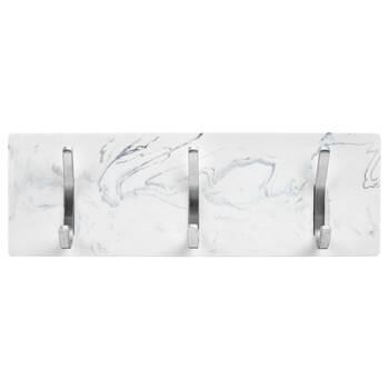 Set of 3 Metal Wall Hooks on Marble Patterned Plaque