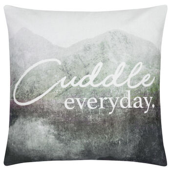 "Cuddle Typography Decorative Pillow 19"" X 19"""