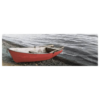 Red Boat by the Sea Printed Canvas