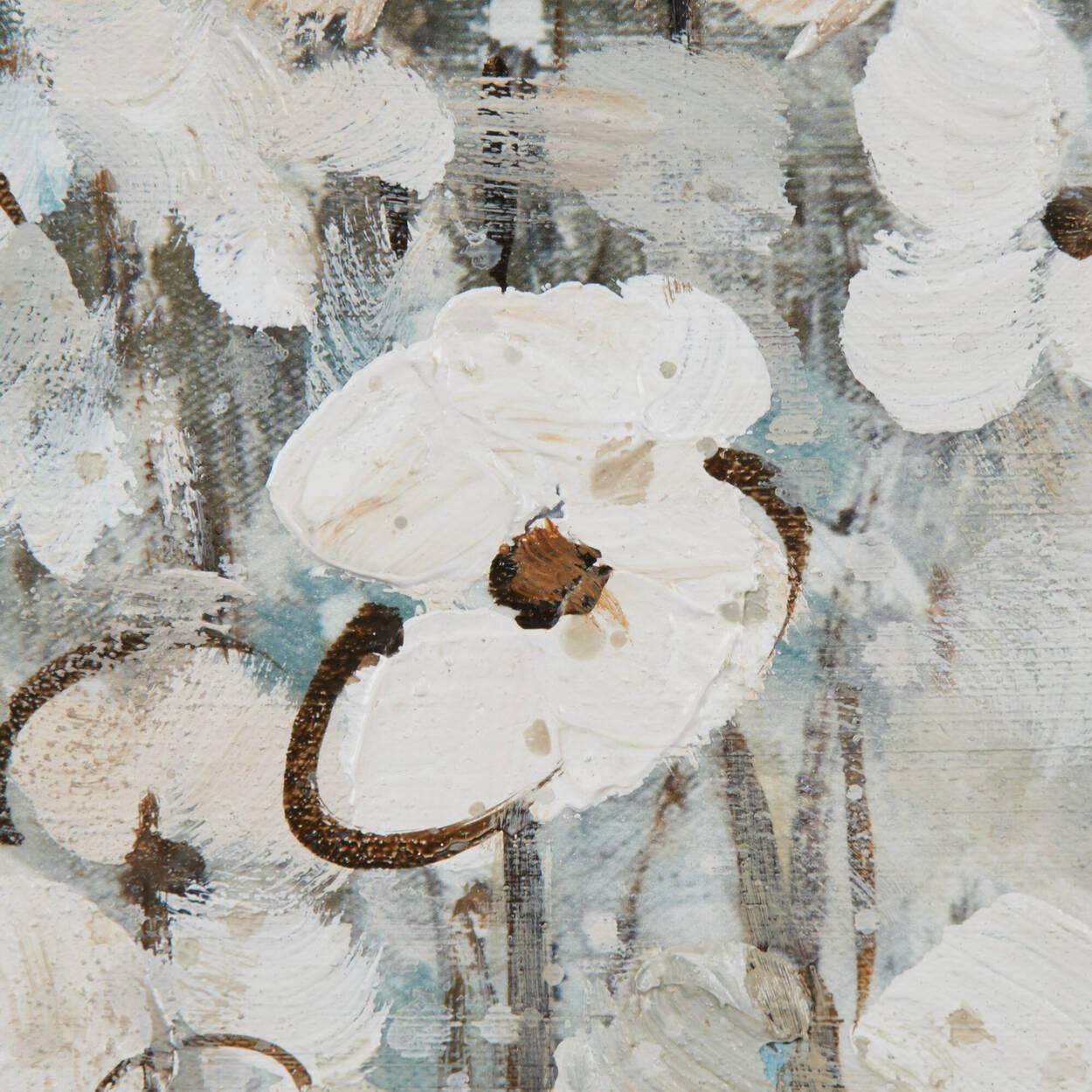 Tableau fleurs au bord de l'eau peint à l'huile