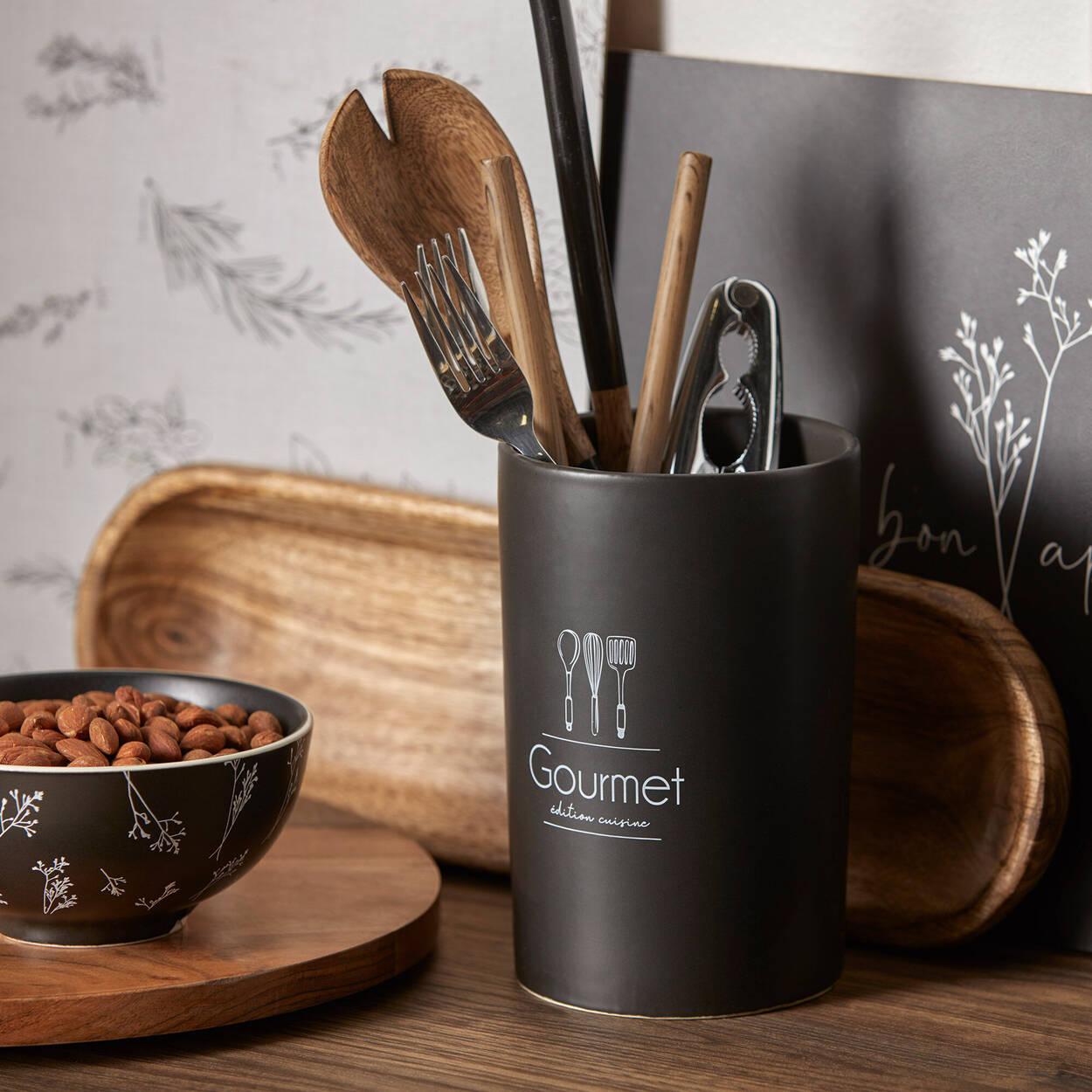 Pot à ustensils avec typographie