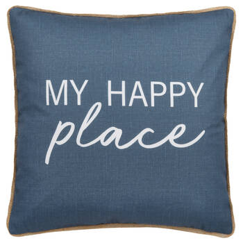 "Happy Water-Repellent Decorative Pillow 18"" X 18"""
