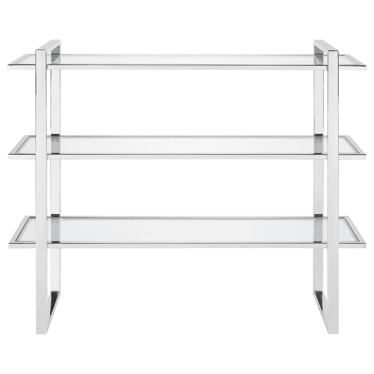 3-Shelf Glass and Chrome Console Table