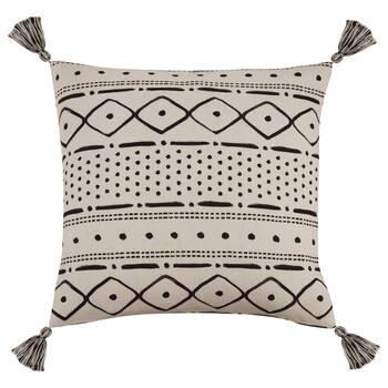 "Tamiko Decorative Pillow Cover with Pom-Poms 18"" X 18"""
