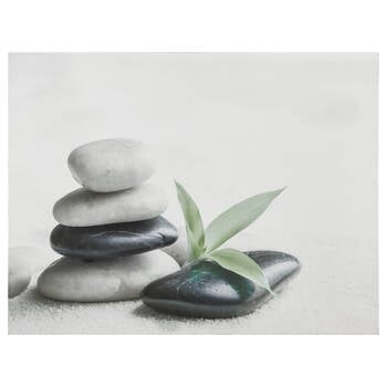 Stacked Rocks and Leaf Printed Canvas