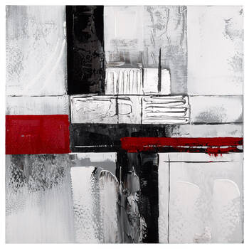 Red Abstract Oil Painted Canvas