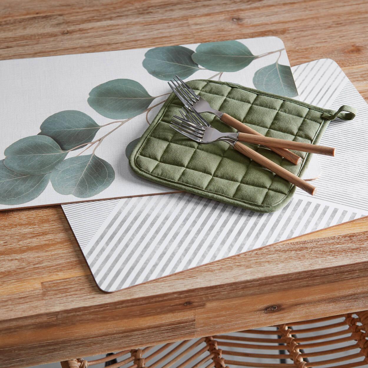 Ensemble de 2 tire-plats de coton vert uni