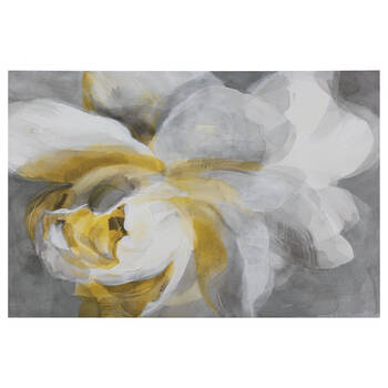 Gel-Embellished Yellow Rose Printed Canvas