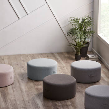 Round Fabric Ottoman with Handles