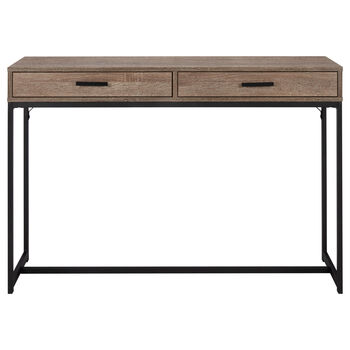 Wood Veneer & Metal 2-Drawer Console