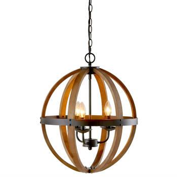Lampe suspendue en chandelier avec sphère en bois
