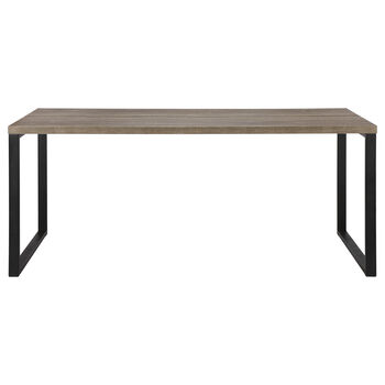 Wood Veneer and Metal Dining Table