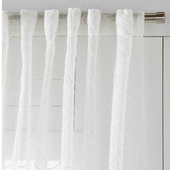 Seetha Rod Pocket & Invisible Back Tab Embroidered Sheer Curtain