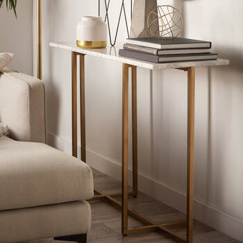 Marble and Gold Metal Console Table