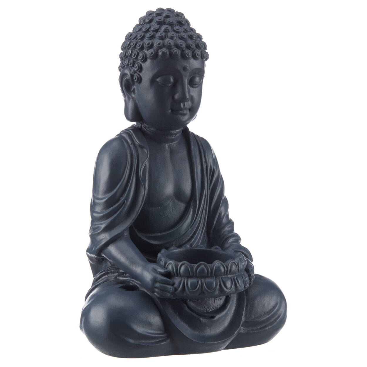 Porte-chandelle Bouddha en ciment noir