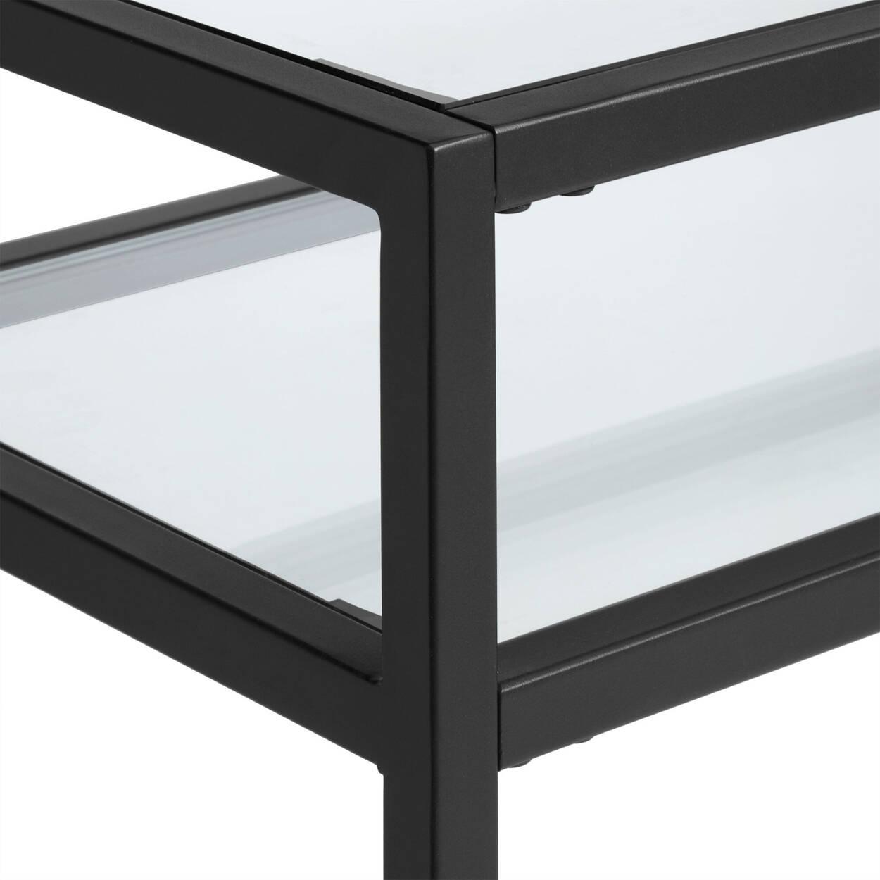 Console en verre trempé et en métal à 2 étagères