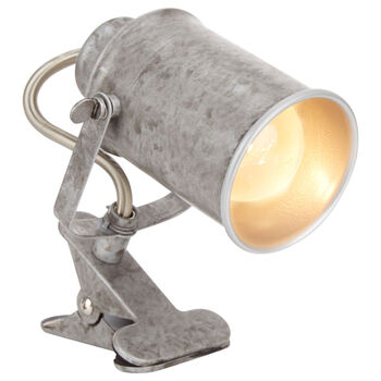 Galvanized Metal Clip Lamp