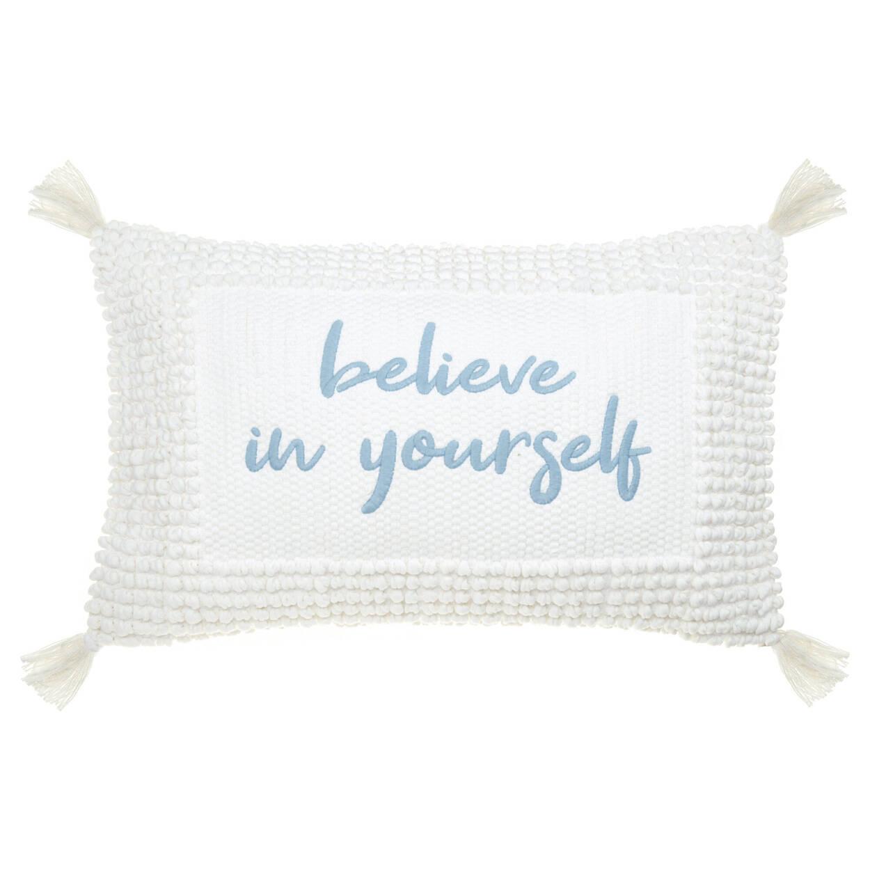 "Coussin lombaire décoratif Jenessa anglais Believe in Yourself 13"" x 20"""