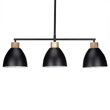 3-Bulb Metal and Wood Ceiling Lamp
