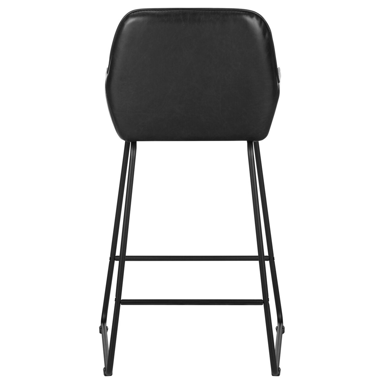Textured Faux Leather and Metal Counter Stool