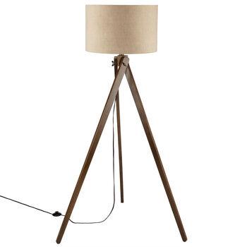 lighting styles. Wood And Linen Tripod Floor Lamp Lighting Styles