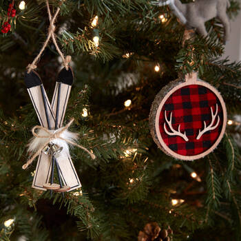 Wooden Plaid Antlers Ornament