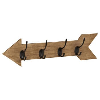 Wooden Arrow with Four Hooks