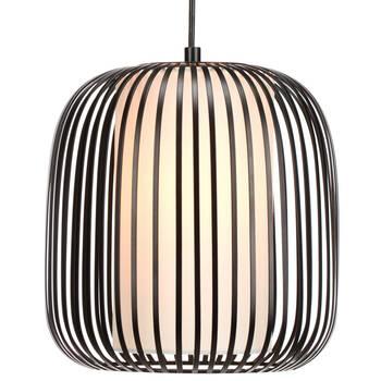 Lampe suspendue en métal et en tissu