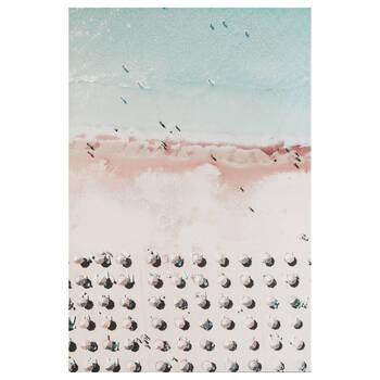 Tableau imprimé parasols sur une plage rose