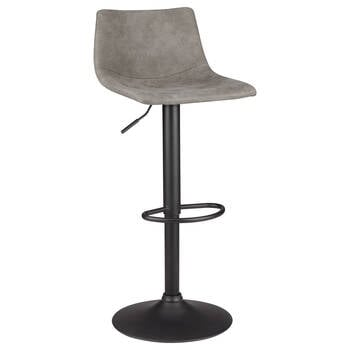 Textured Faux Leather & Metal Adjustable Bar Stool