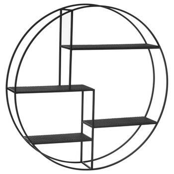 Round Metal and Cane Wall Shelf
