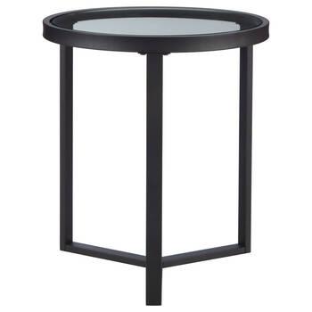Table d'appoint ronde en verre et en métal