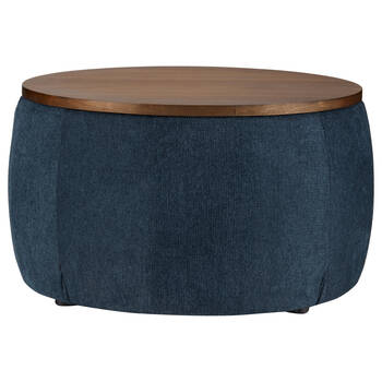 Fabric and Walnut Ottoman
