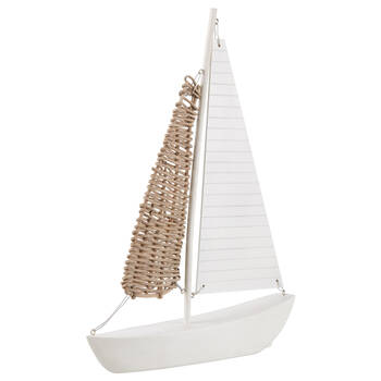 Decorative White Sailboat With Rattan