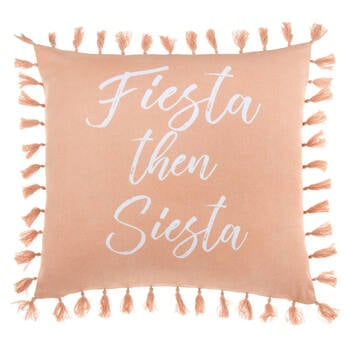 "Siesta Decorative Pillow Cover with Pom-Poms 18"" X 18"""