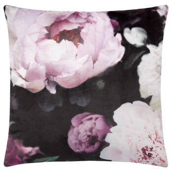 "Printed Peony Velvet Decorative Pillow 19"" x 19"""