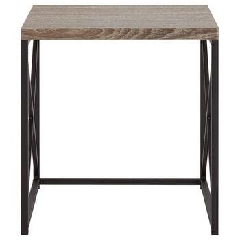 Wood Veneer and Metal Side Table