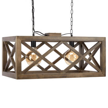 Wooden Rectangular Pendant Ceiling Lamp