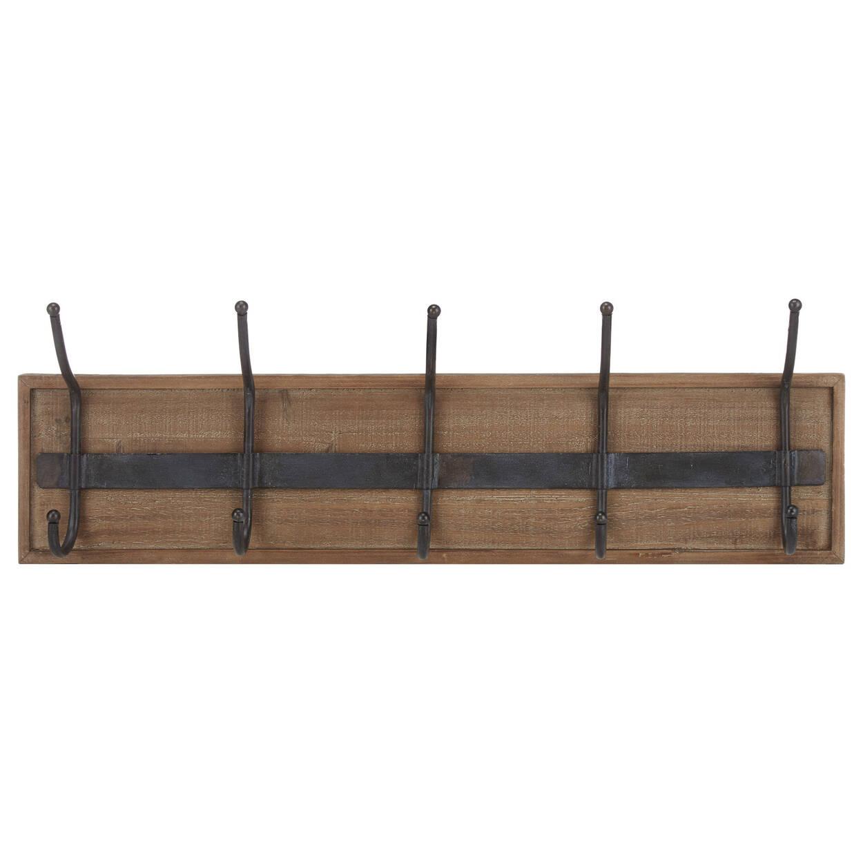 Set of 5 Hooks on Wood Plank