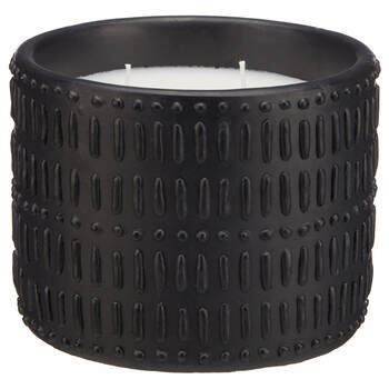Chandelle dans un pot en ciment artisanal