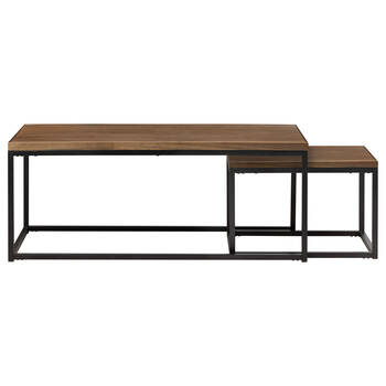 Set of 2 Wood and Metal Coffee Tables