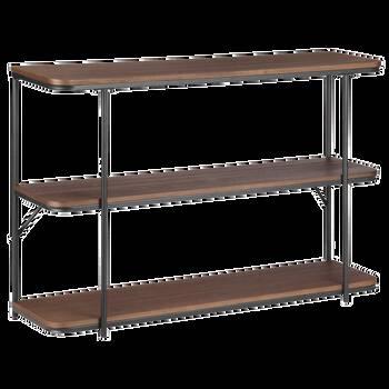 Three-Shelf Veneer and Metal Console Table