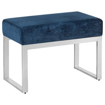 Velvet Bench with Metal Base