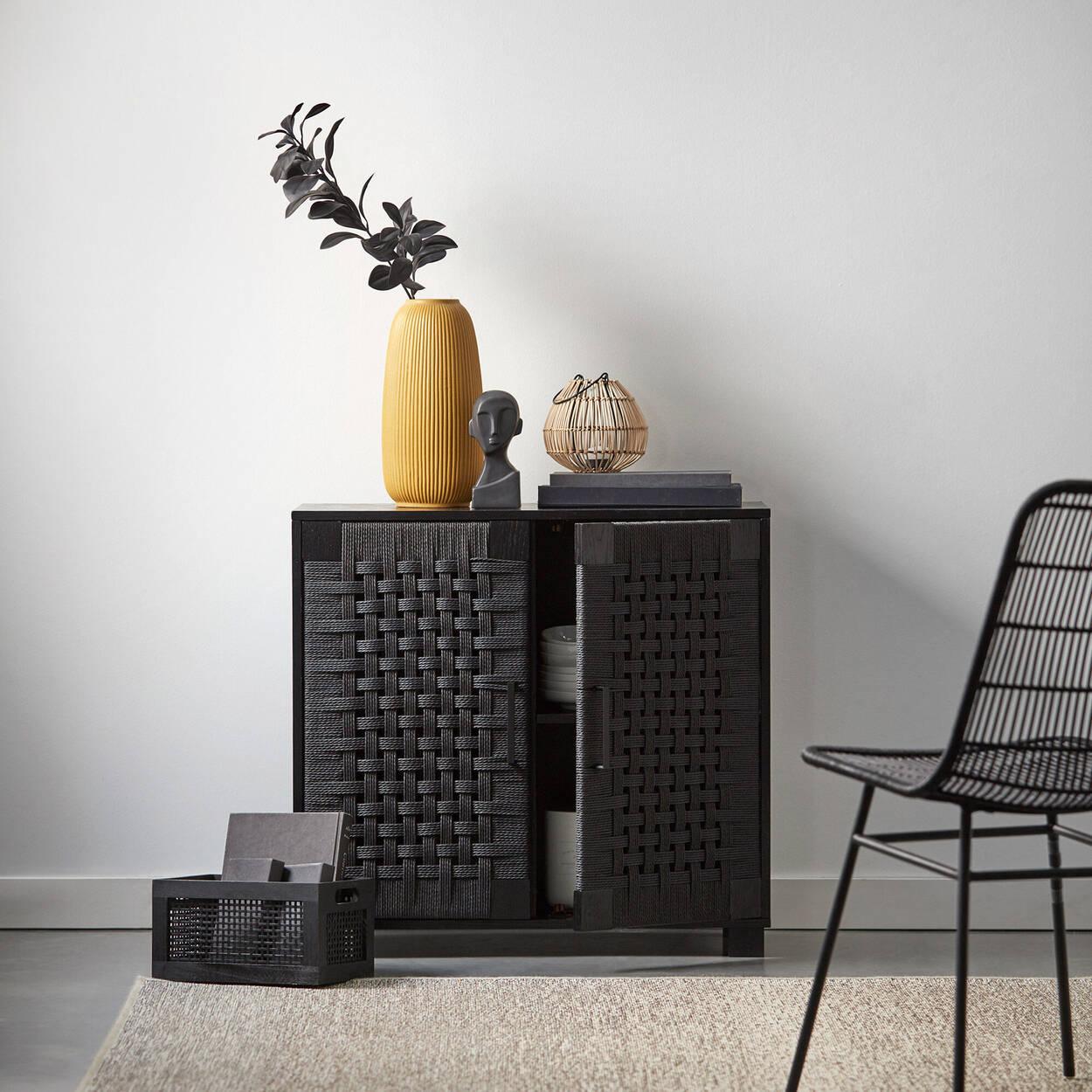 Caisse en bois de pin et bambou noir
