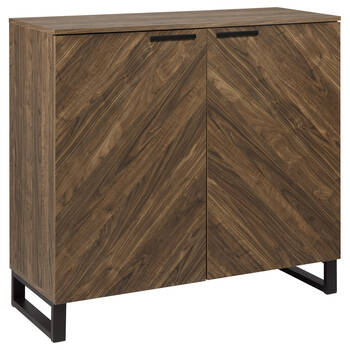 Two-Door Chevron Wood and Metal Buffet