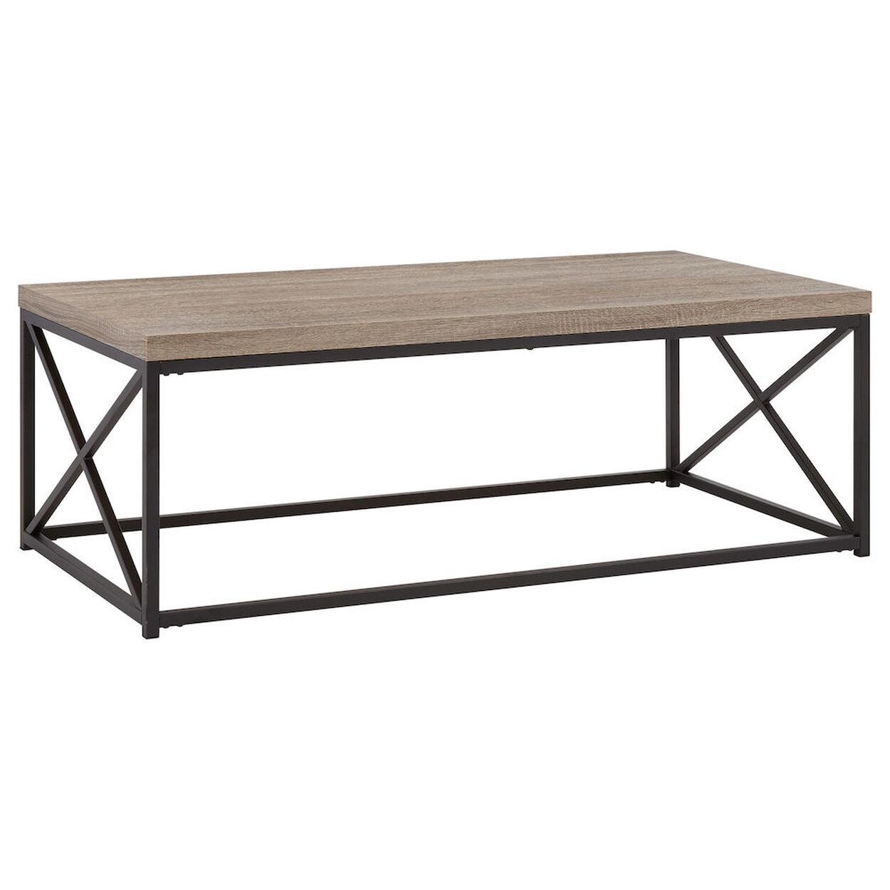 Wood Veneer and Metal Coffee Table