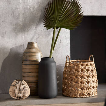 Black and Natural Bamboo Vase